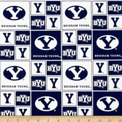 Collegiate Cotton Broadcloth BYU Blocks Fabric