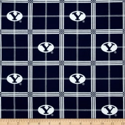 Collegiate Cotton Flannel Brigham Young University Plaid Blue Fabric