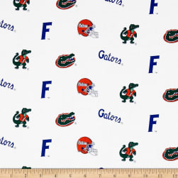 Collegiate Cotton Broadcloth University of Florida Gators White
