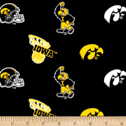 NCAA Iowa Hawkeyes Broadcloth Black Fabric