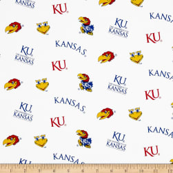 Collegiate Cotton Broadcloth University of Kansas White Fabric