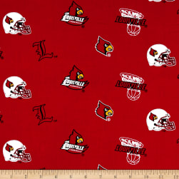 Collegiate Cotton Broadcloth University of Louisville Red Fabric