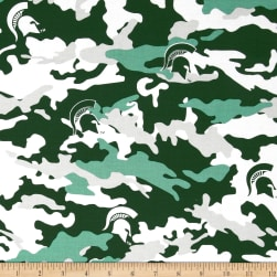 Collegiate Cotton Broadcloth Michigan State University Camouflage Green Fabric