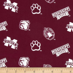 Collegiate Cotton Broadcloth Mississippi State Red Fabric