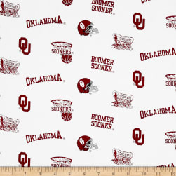 Collegiate Cotton Broadcloth University of Oklahoma White Fabric