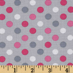 Kaufman Spot On Medium Dot Silver Fabric