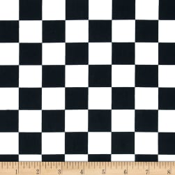 Cotton Twill Large Checker Black/White Fabric