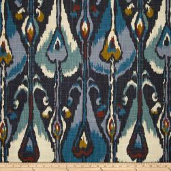 Robert Allen @ Home Ikat Bands Indigo Fabric