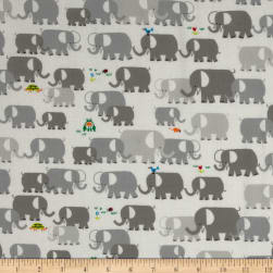 Cloud 9 Happy Drawing Organic Elephants Grey Fabric