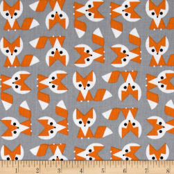 Cloud 9 Picture Pie Organic Fox Orange/Grey Fabric