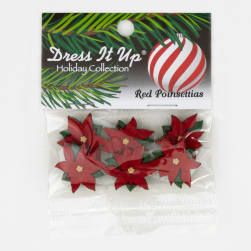 Dress It Up Embellishment Buttons  Red Poinsettias