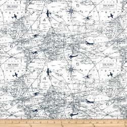 Premier Prints Air Traffic Premier Navy Fabric