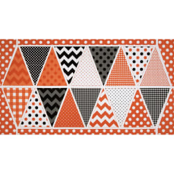 Riley Blake Holiday Banner Panel Halloween Orange Fabric