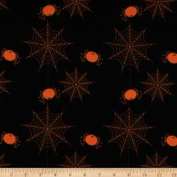 Riley Blake Holiday Banners Spider Webs Black
