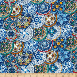 Timeless Treasures Fiesta Plates Blue Fabric