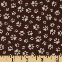 Sand Scribbles Paws Allover Brown Fabric
