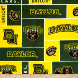 Collegiate Fleece Baylor University Green/Yellow Fabric