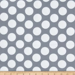 Flannel Polka Dot Grey Fabric