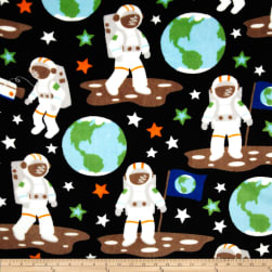 Plush Coral Fleece Astronauts Black Fabric