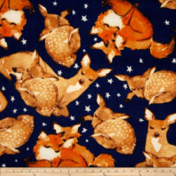 Fleece Tosssed Fox & Deer Navy Fabric