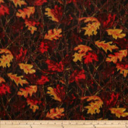 Fleece Leaves Red/Gold/Brown Fabric