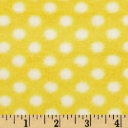 Fleece Polka Dot Yellow/White Fabric