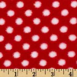 Fleece Polka Dot Red/White Fabric