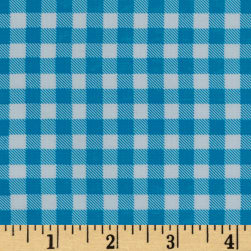 Oilcloth Gingham Sky Blue Fabric