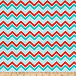 Shannon Minky Cuddle Classic Mini Zig Zag Aqua/Red/Breeze