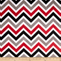 Shannon Minky Cuddle Zig Zag Red/Black/Snow Fabric
