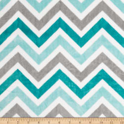 Shannon Minky Cuddle Zig Zag Topaz/Charcoal/Snow Fabric