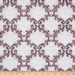 Shannon Minky Cuddle Vine Damask Blush Fabric