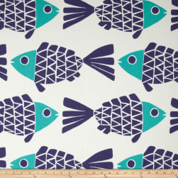 P. Kaufmann Indoor/Outdoor Go Fish Blue Marine Fabric