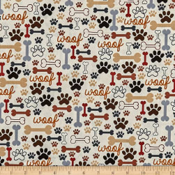 Timeless Treasures Dog Bones & Paw Prints Cream Fabric