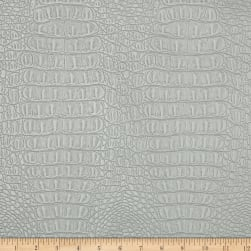 Faux Leather Metallic Gator Silver Fabric
