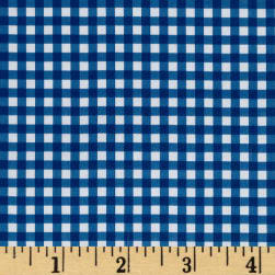Fleece Backed Tablecloth Gingham Blue Fabric