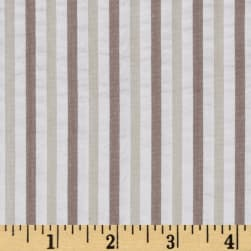 Kaufman Breakers Seersucker Stripe Khaki Fabric