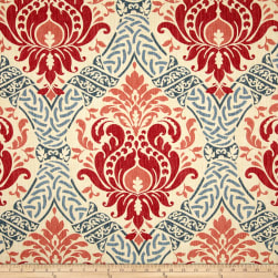 Waverly Dressed Up Damask Poppy Fabric