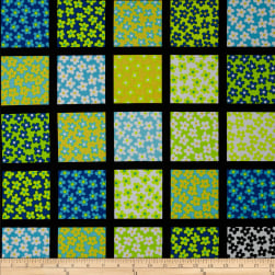 Kanvas What a Whirl Daisy Square Black/Turquoise Fabric