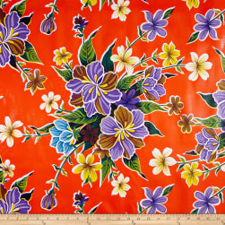 Oilcloth Hibiscus Orange Fabric