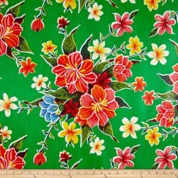 Oilcloth Hibiscus Green Fabric