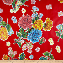 Oilcloth Mums Red Fabric