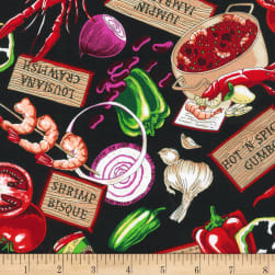 Salsa Picante Cajun Delight Black Fabric