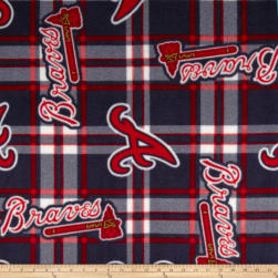 MLB Fleece Atlanta Braves Plaid Navy/Red Fabric