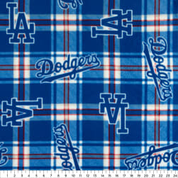 MLB Fleece Los Angeles Dodgers Plaid Blue Fabric