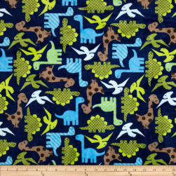 Shannon Kaufman Minky Cuddle Dino Midnight Fabric