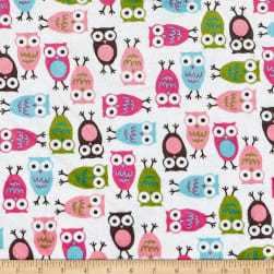 Shannon Kaufman Minky Cuddle Night Owls Fuchsia Fabric