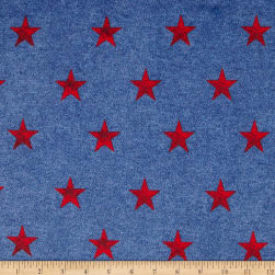 Minky Stars Blue/Red Fabric