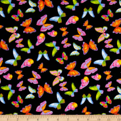 Minky Butterflies Black Fabric