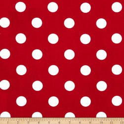 Broadcloth Blend Dots Red/White Fabric